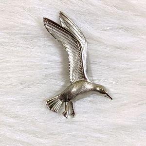 Vtg Giovonni Silver Metal Seagull Brooch Pin